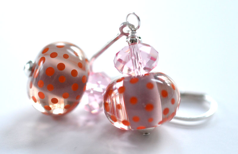 Lovely Earrings Pink and Orange