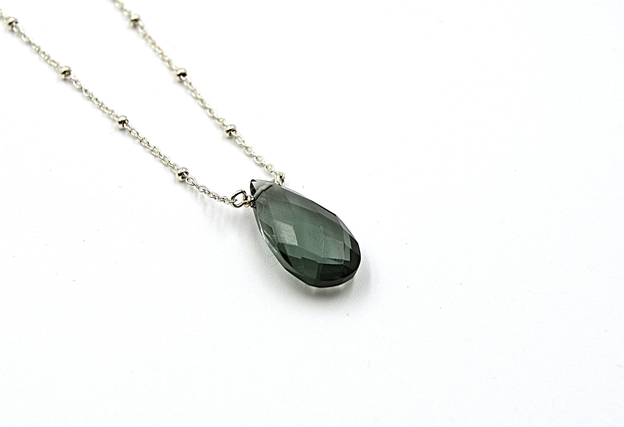 Teal Grey Quartz Drop