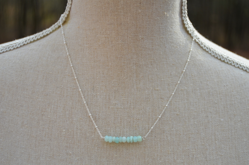 Blue Opal Bar Necklace- Silver