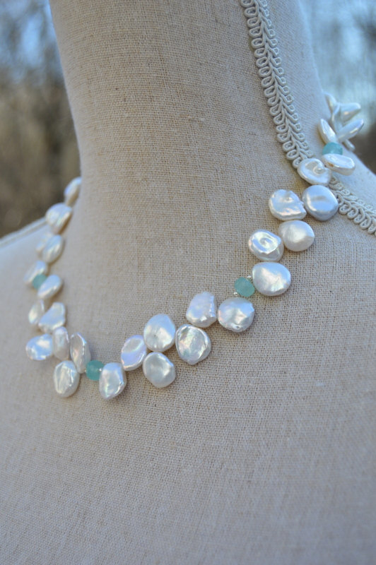 Keshi Pearl with Chalcedony