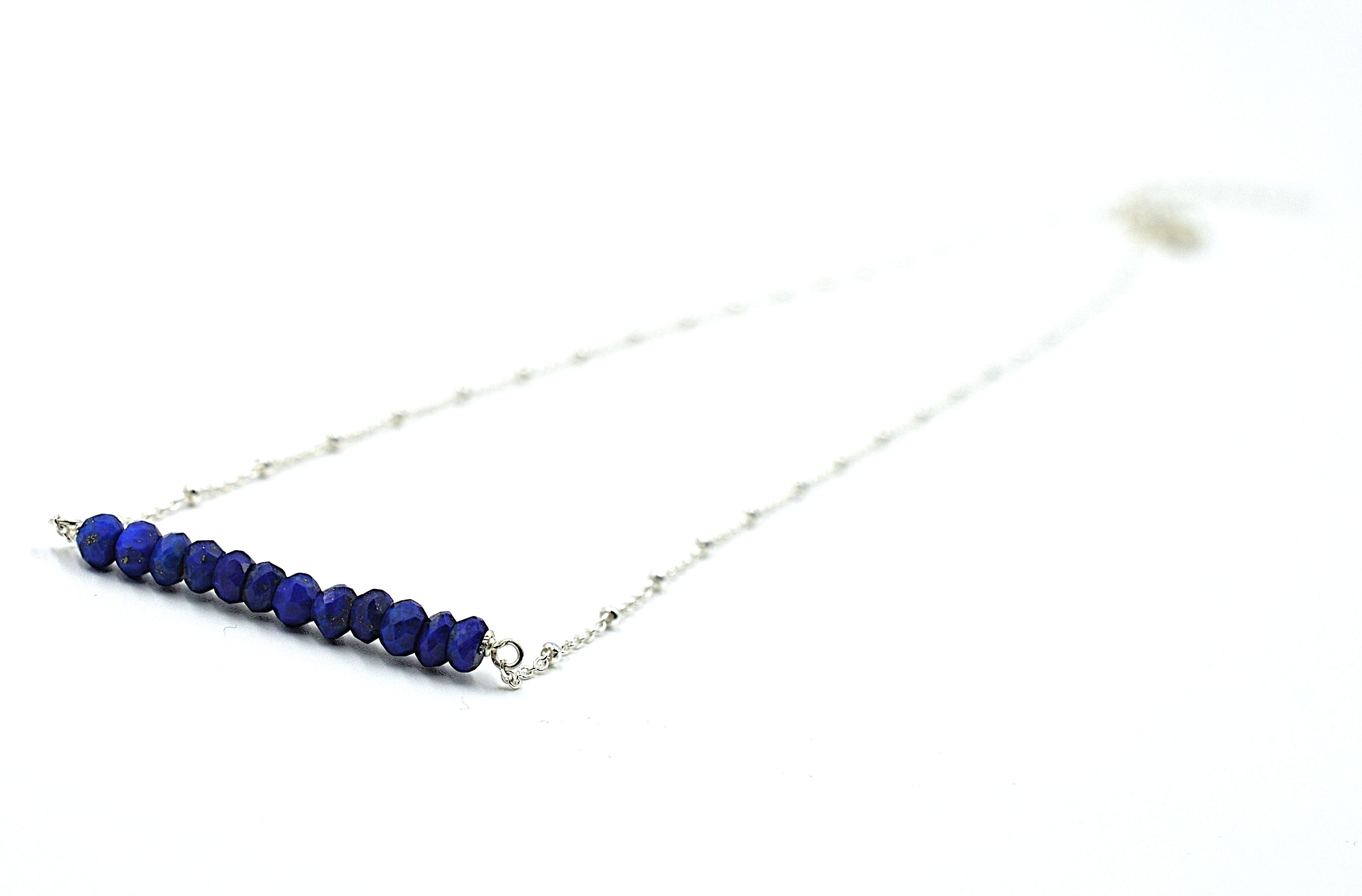 Lapis Bar Necklace - Silver