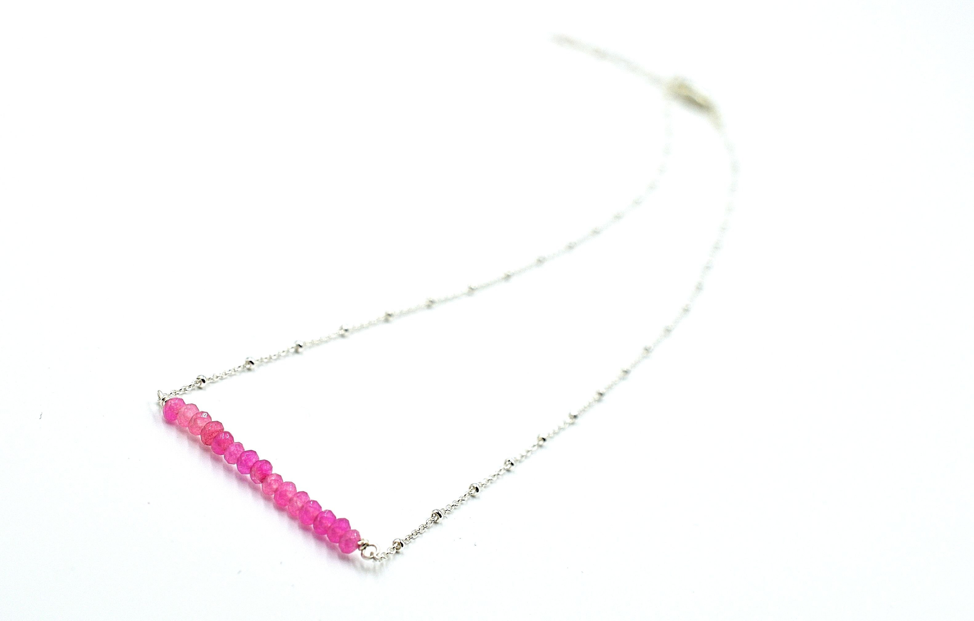 Rose Quartz Bar Necklace - Silver