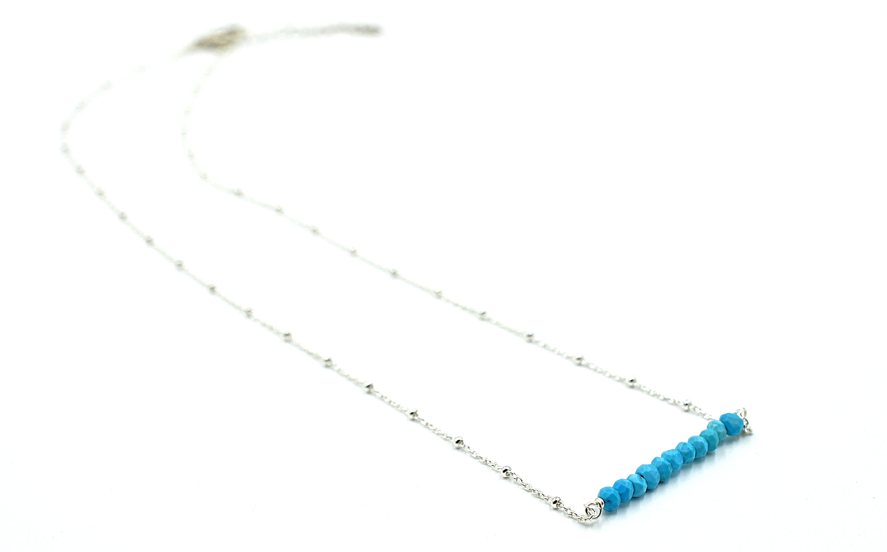 Turquoise Bar Necklace - Silver