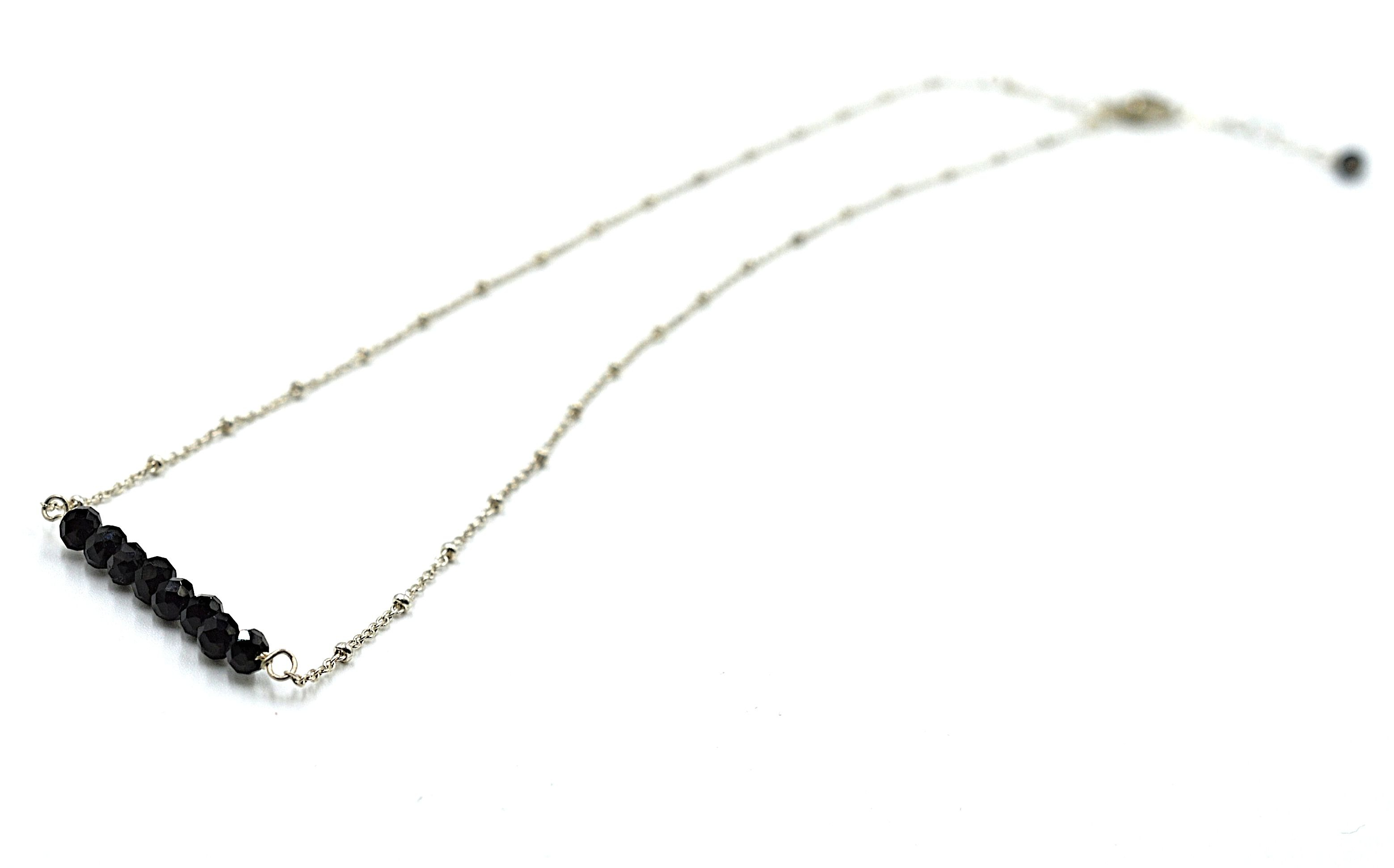 Black Onyx Bar Necklace - Silver